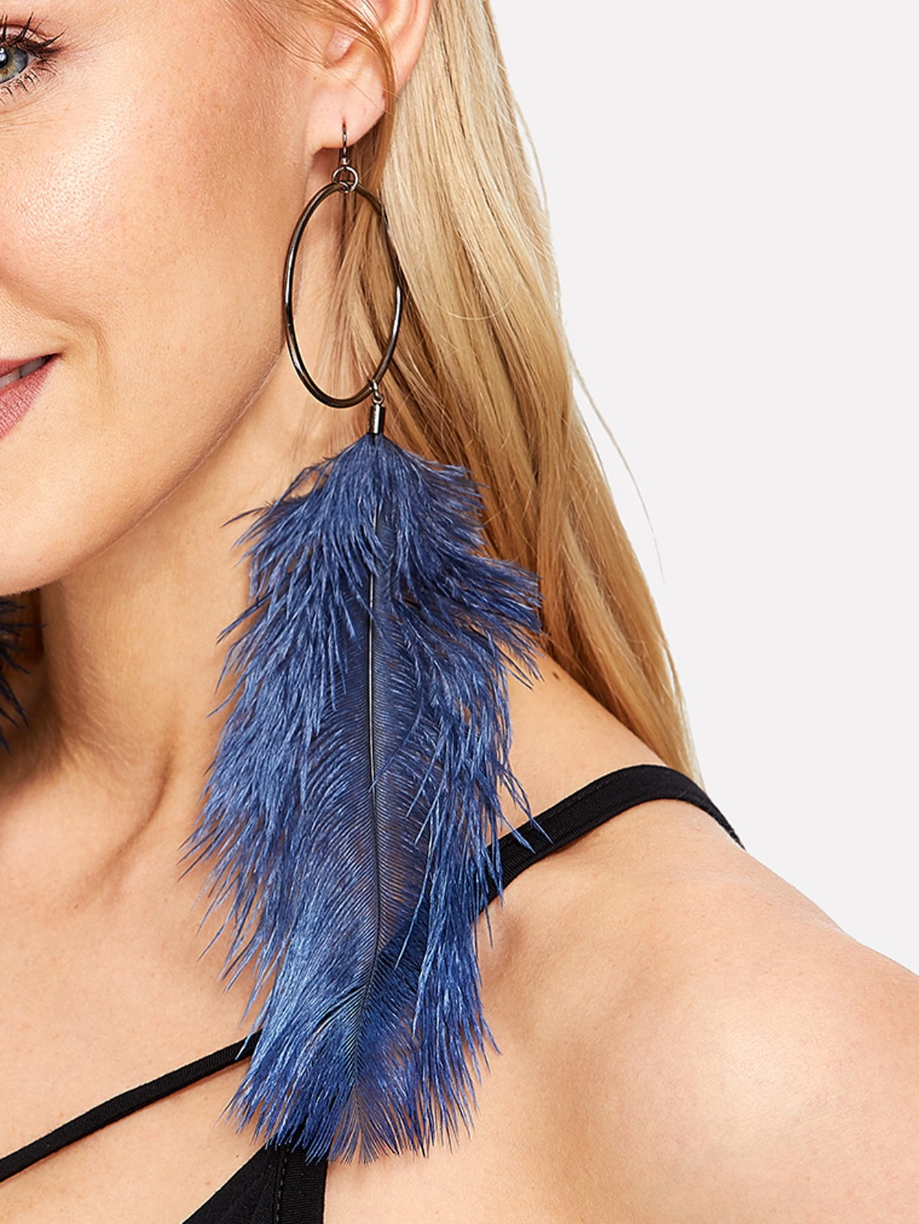 Feather Design Drop Earrings mask design drop earrings
