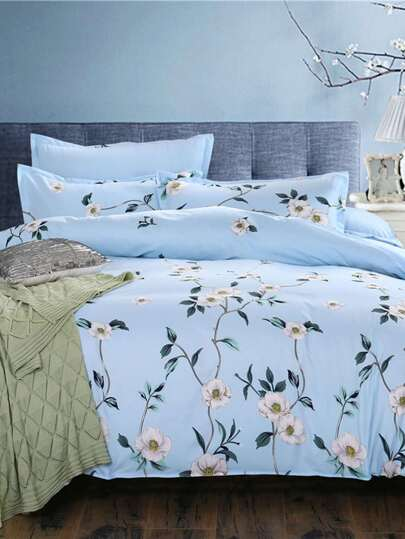 2.2m 4Pcs Floral Random Print Bed Sheet Set