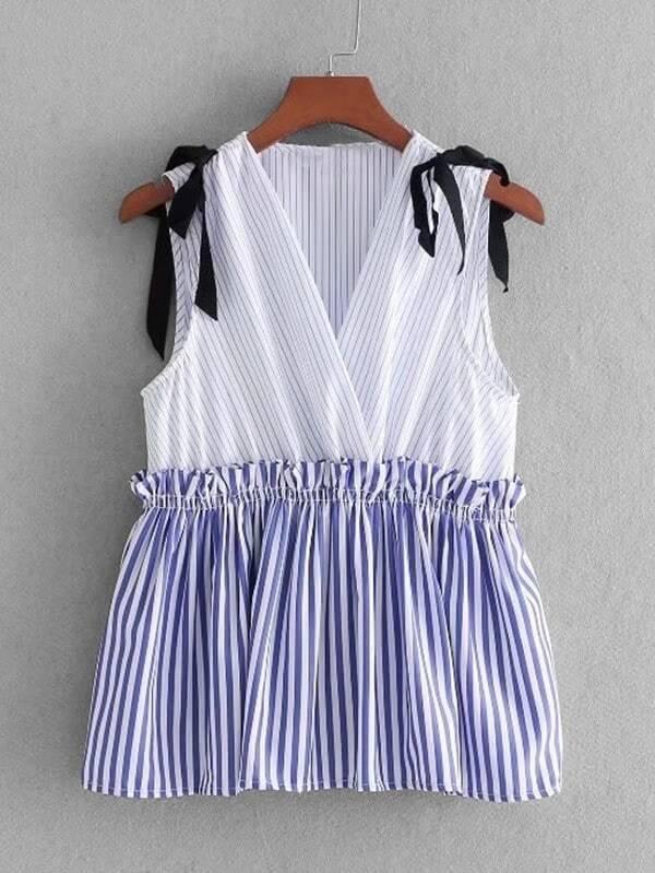 Tie Shoulder Striped Babydoll Tank Top vest180104203