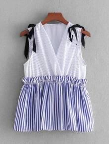 Tie Shoulder Striped Babydoll Tank Top ROMWE