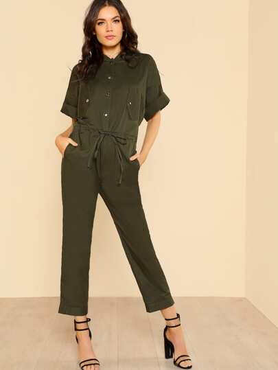 Half Placket Drawstring Waist Utility Jumpsuit