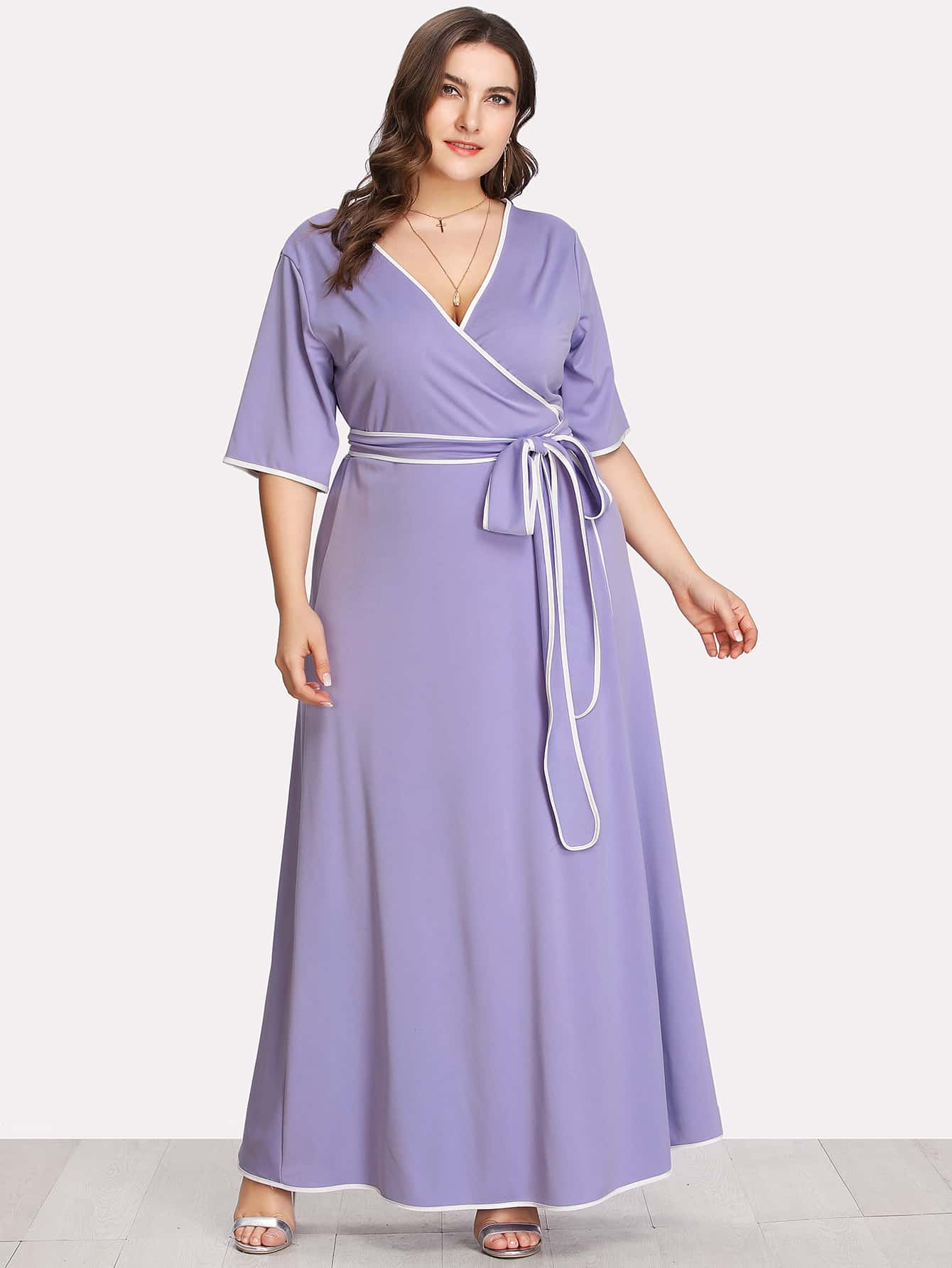 Contrast Binding Self Belted Wrap Dress contrast binding wrap dress