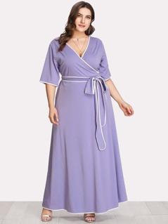 Plus Contrast Binding Self Belted Wrap Dress