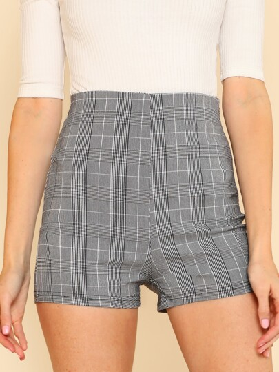 High Waist Fitted Shorts BLACK WHITE