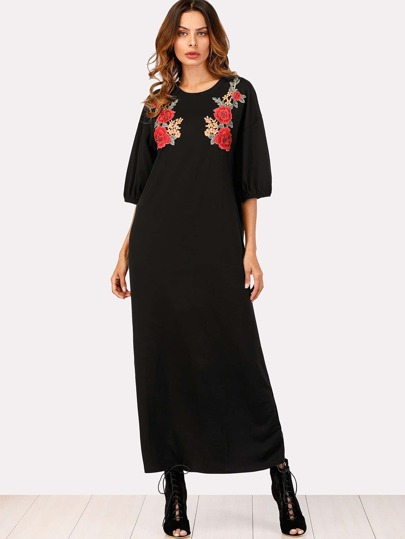 Embroidered Appliques Drop Shoulder Dress