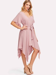 Self Belt Asymmetrical Dress