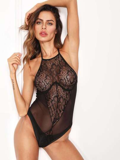 Lace Halter Open Back Teddy