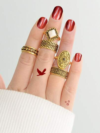 Vintage Carved Ring  5-Pieces Set