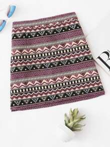 Zip Up Back Geo Print Skirt
