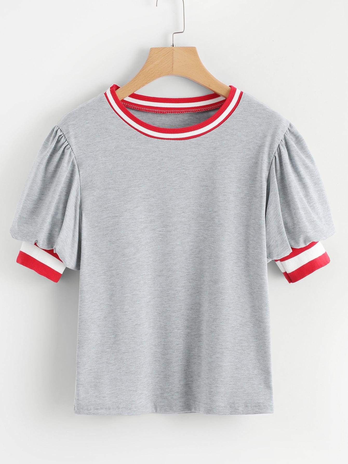 Фото Contrast Stripe Trim Lantern Sleeve Marled Tee men contrast stripe trim tee