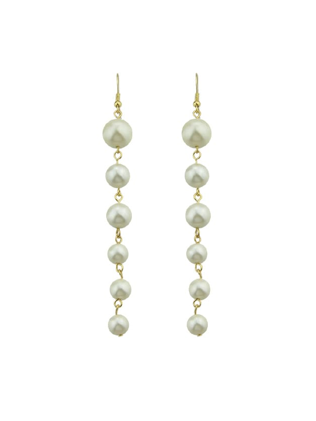Smooth Long Chain Simulated-Pearl Drop Earrings все цены