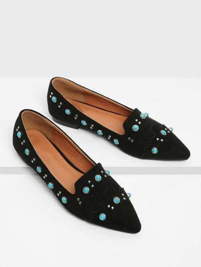 Turquoise Decorated Pointed Toe Suede Flats