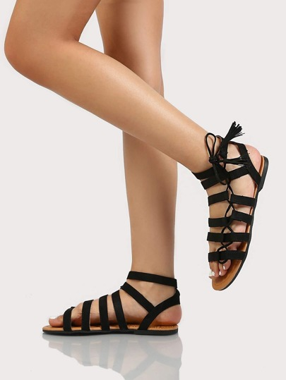 Open Toe Ankle High Strappy Suede Gladiator Sandal BLACK