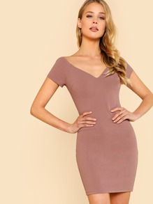 Sweetheart Bardot Neck Form Fitting Dress