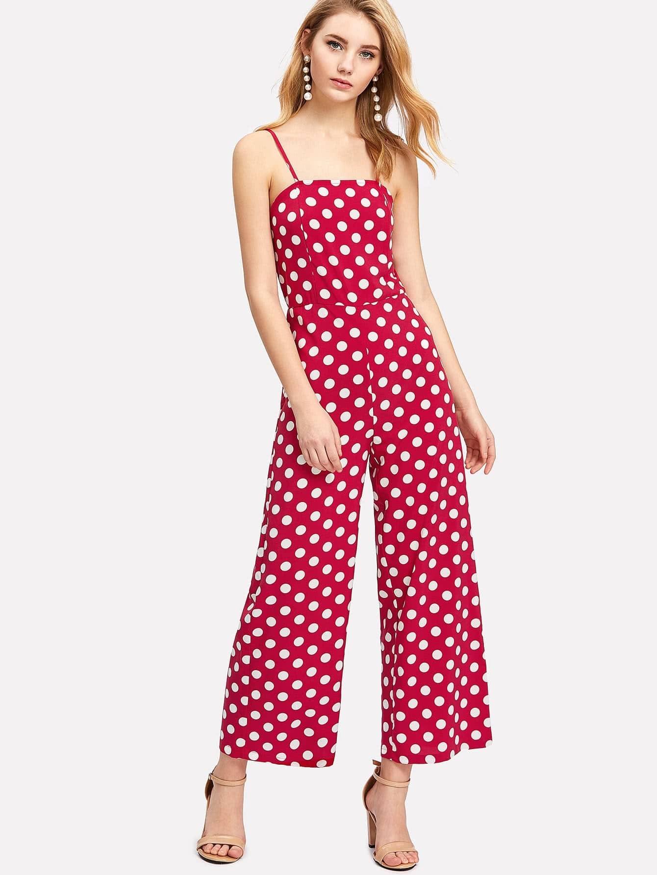 Wide Leg Polka Dot Cami Jumpsuit tropical print wide leg cami jumpsuit