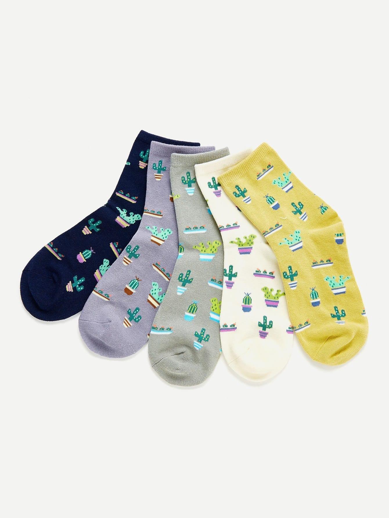 Cactus Print Ankle Socks 5pairs 3d panda baby one side print crazy ankle socks
