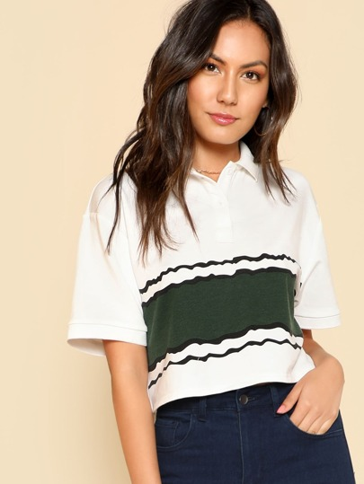 Colorblock Crop Polo Shirt