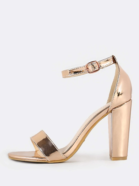 59d2ca65d8 Single Band Ankle Strap Metallic Heel ROSE GOLD | MakeMeChic.COM