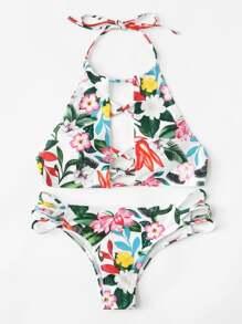 Flower Print Criss Cross Bikini Set
