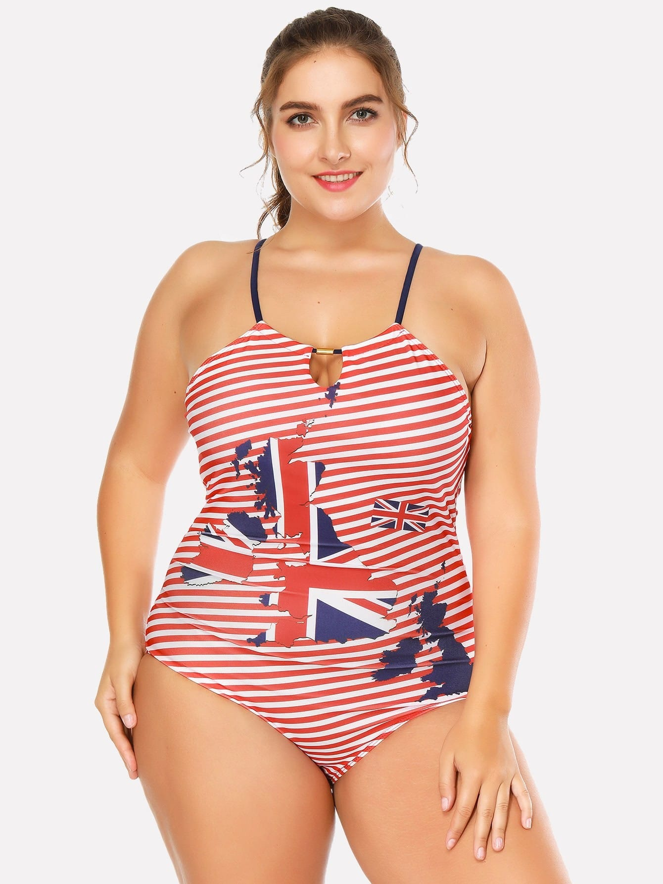 Striped Cut Out Swimsuit