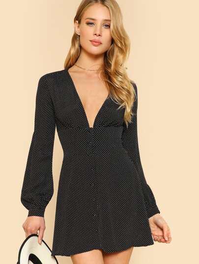 Polka Dot Long Sleeve Button Down Mini Dress BLACK