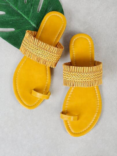 Single Woven Band Slip Sandal with Toe Ring Design YELLOW
