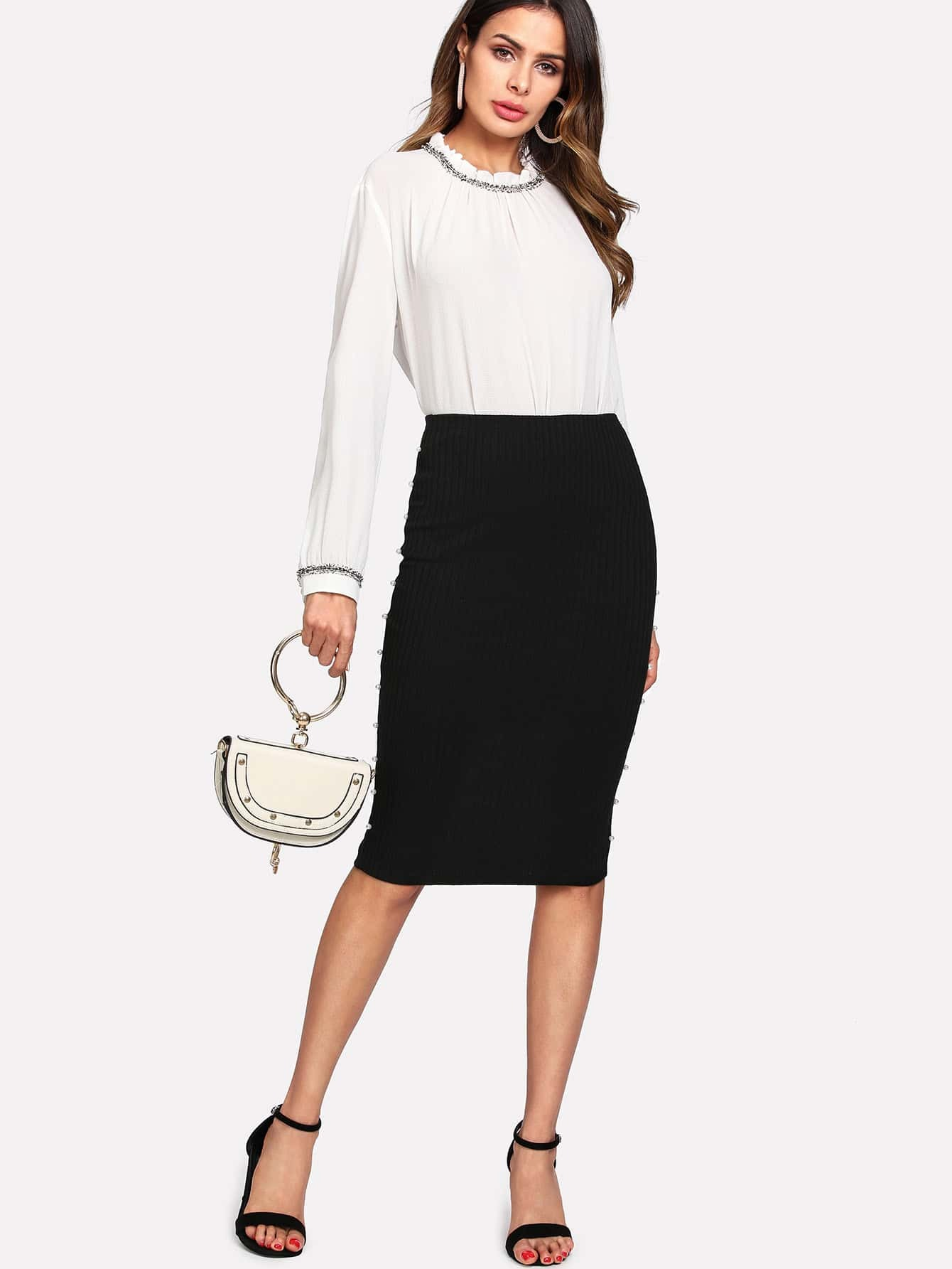 Pearl Detail Slit Back Ribbed Skirt pearl detail layered bell sleeve ribbed top