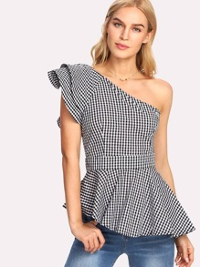 Layered One Shoulder Asymmetric Gingham Peplum Top