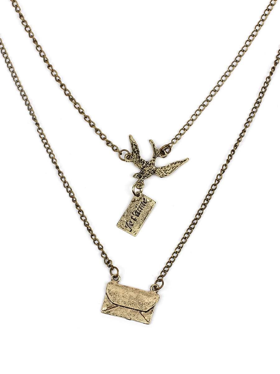 Metall-Umschlag-Anhänger geschichteten Kette Halskette
