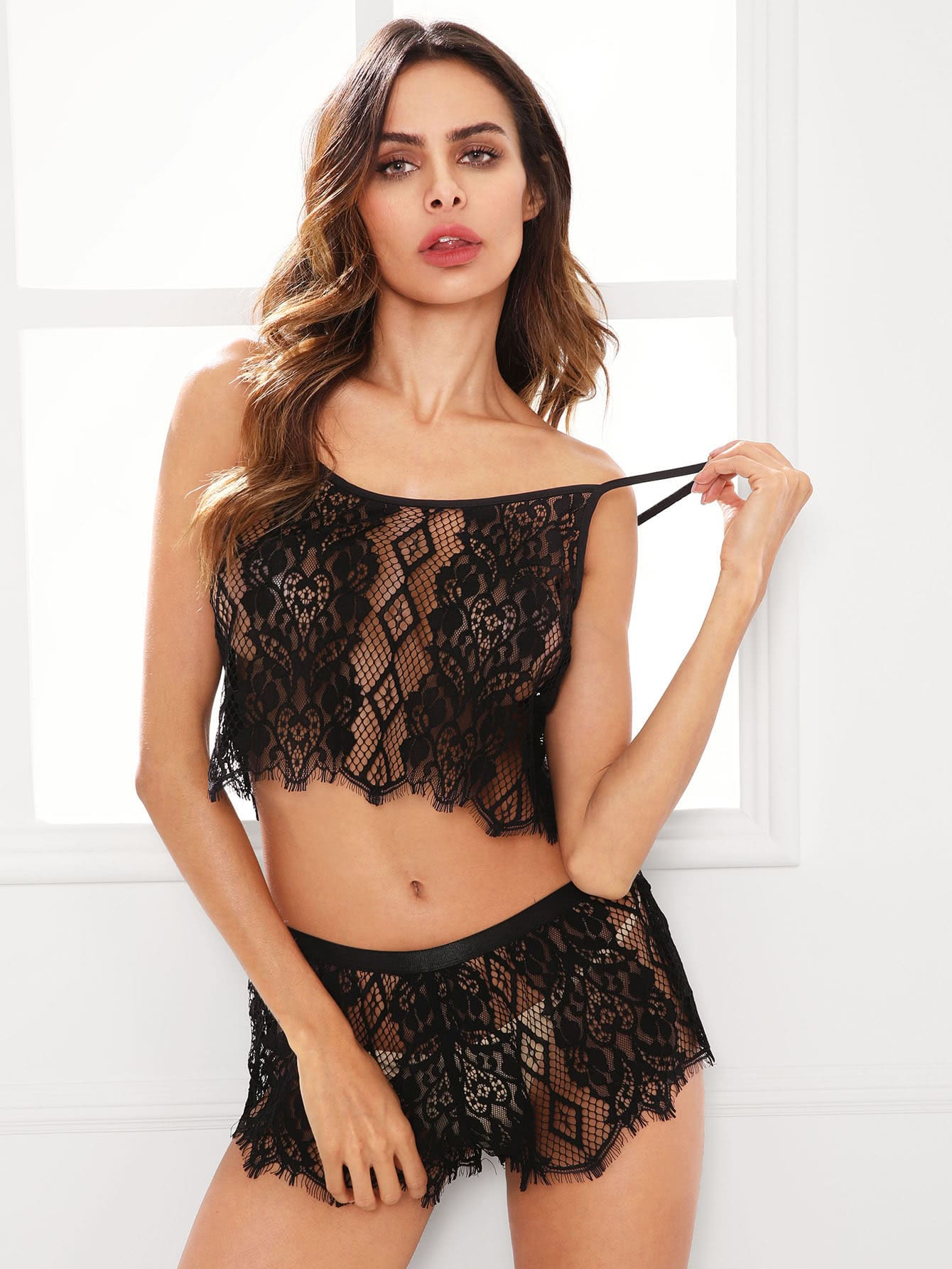 Hollow Out Lace Cami Top And Shorts Pajama Set night170802701