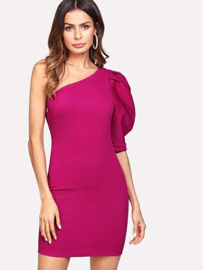 One Shoulder Fold Pleat Puff Sleeve Dress