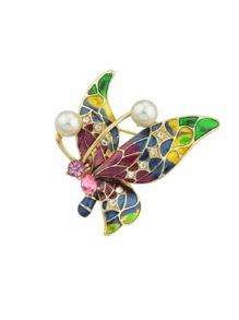 Drops Glaze Color Butterfly Brooch
