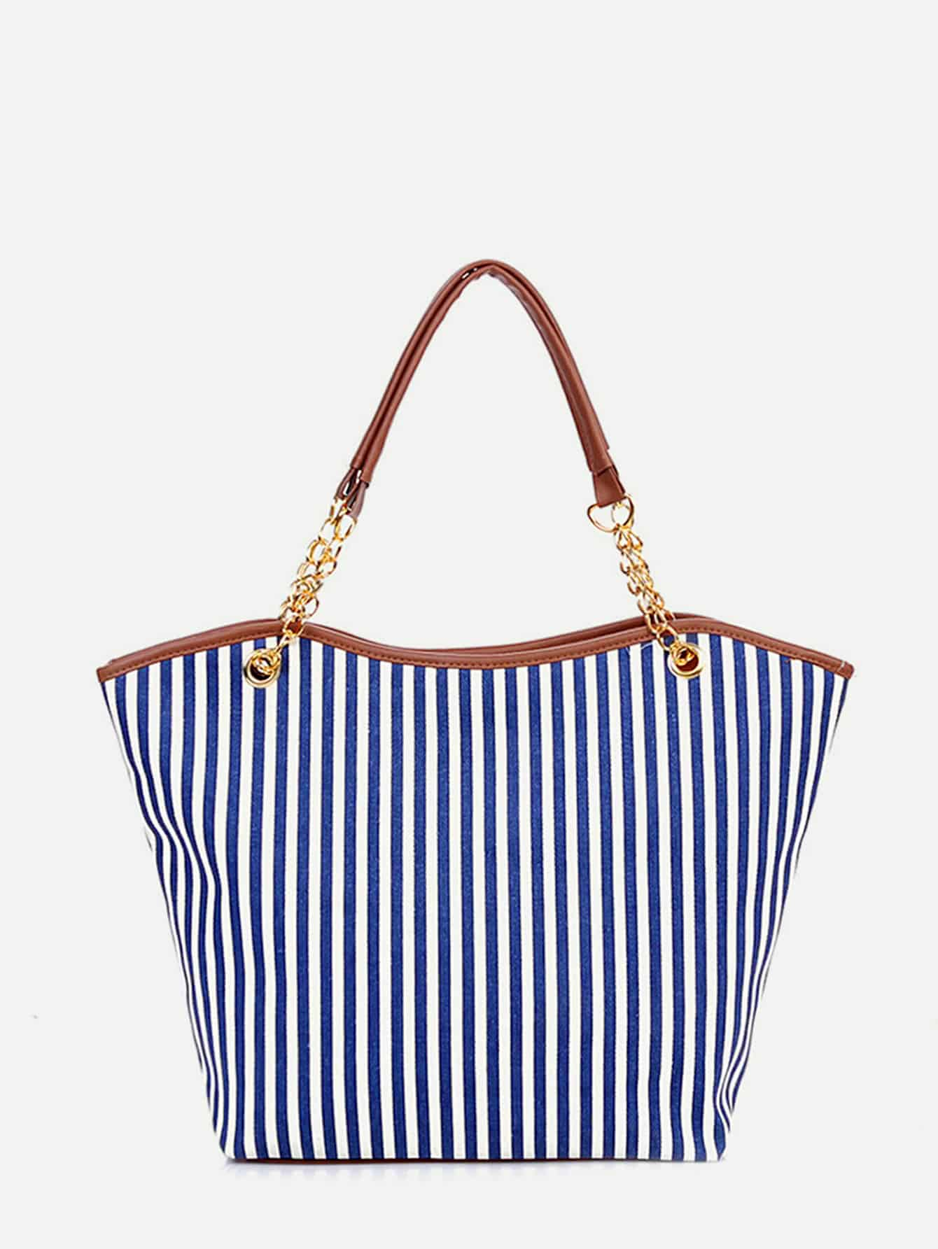 Vertical Striped Tote Bag With Tassel Detail tassel detail striped swimsuit