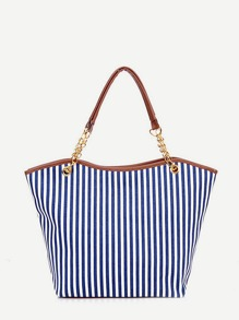 Vertical Striped Tote Bag With Tassel Detail ROMWE