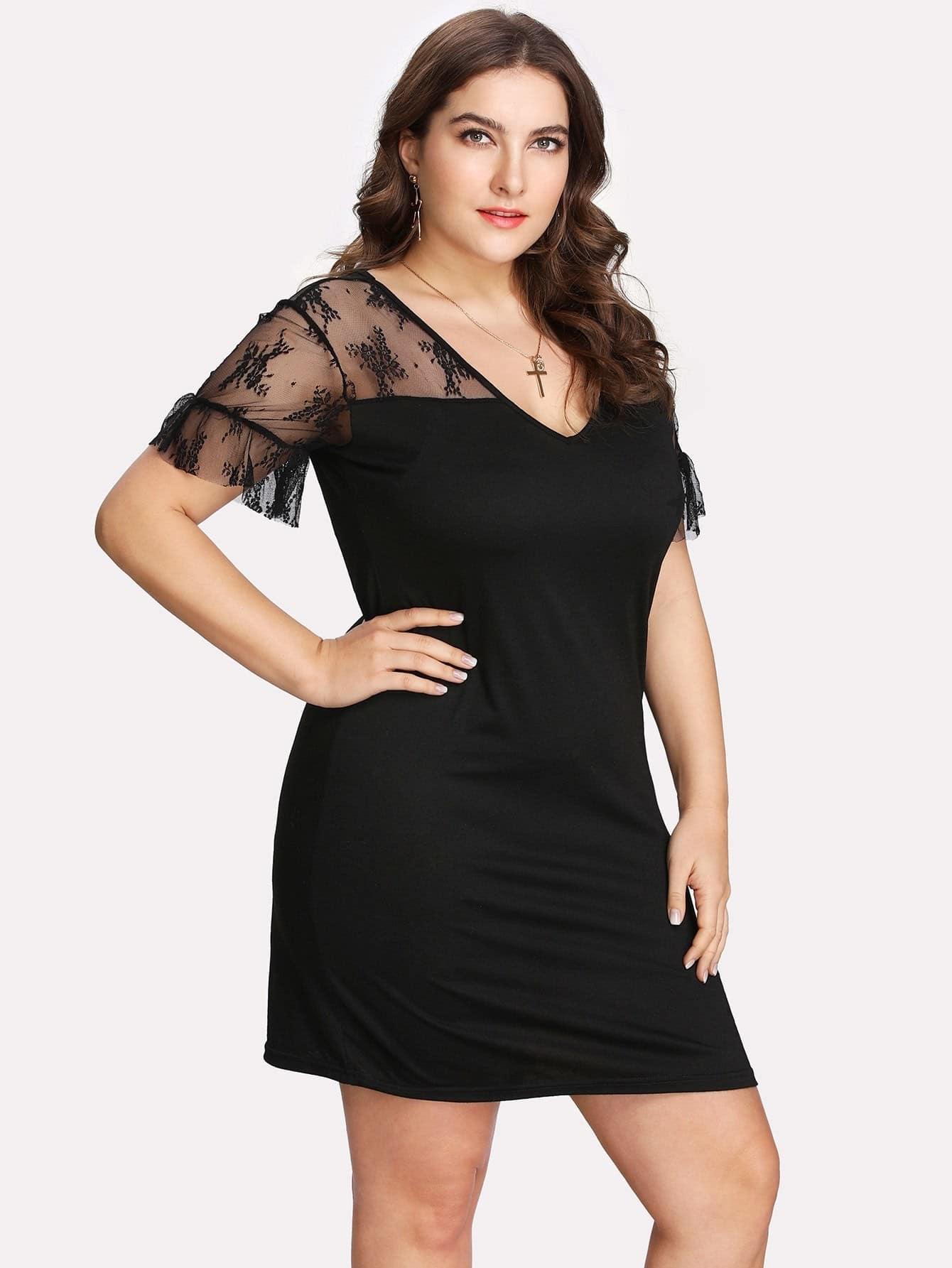 где купить Lace Insert Ruffle Sleeve Dress по лучшей цене