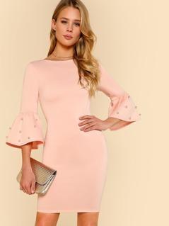 Pearl Embellished Flounce Sleeve Dress