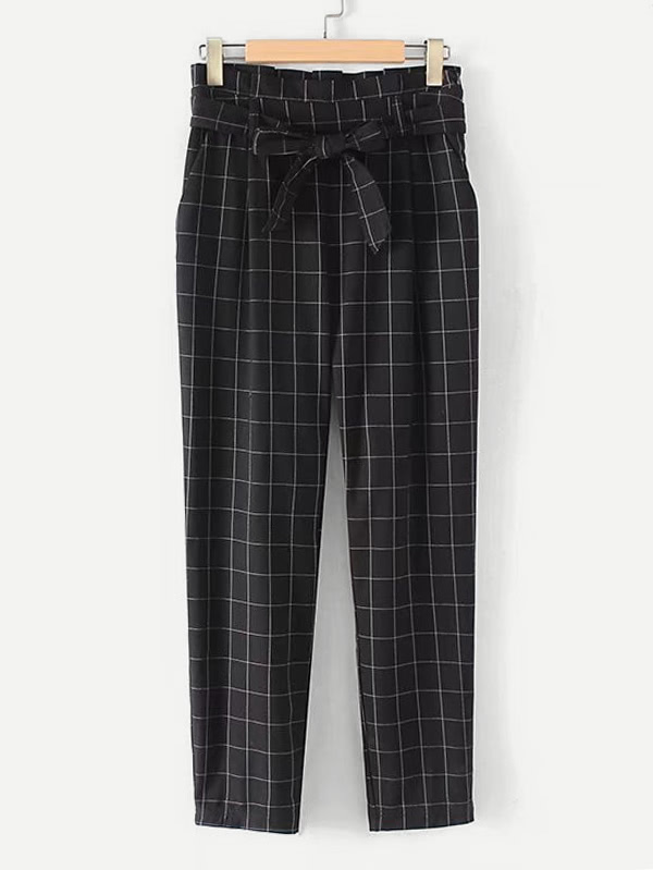 Grid Print Frill Waist Pants With Belt yellow grid skinny leg pants with belt