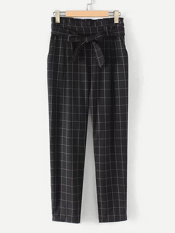 Grid Print Frill Waist Pants With Belt