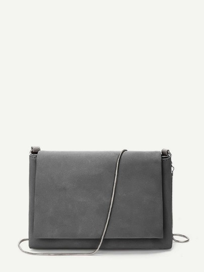 Solid Flap Bag With Chain