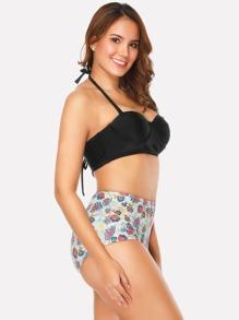 Calico Print Lace Up Bikini Set