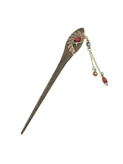 Red Classical Peacock Wooden Hairpin