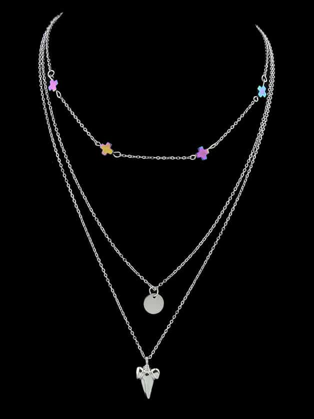 Silver Multi-Layer Necklace Sweater Chain Necklace все цены