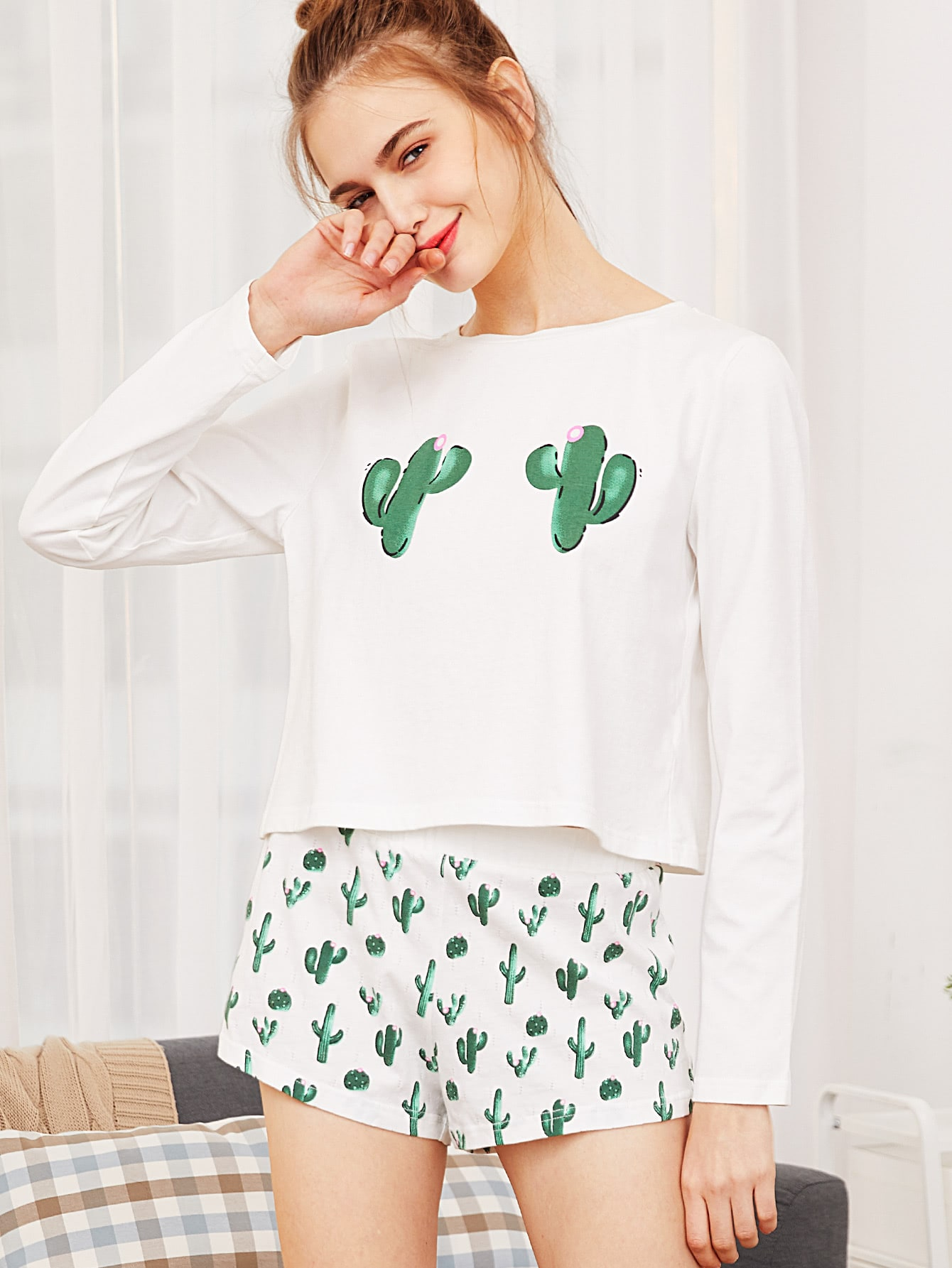 Cactus Print Tee And Shorts Pajama Set