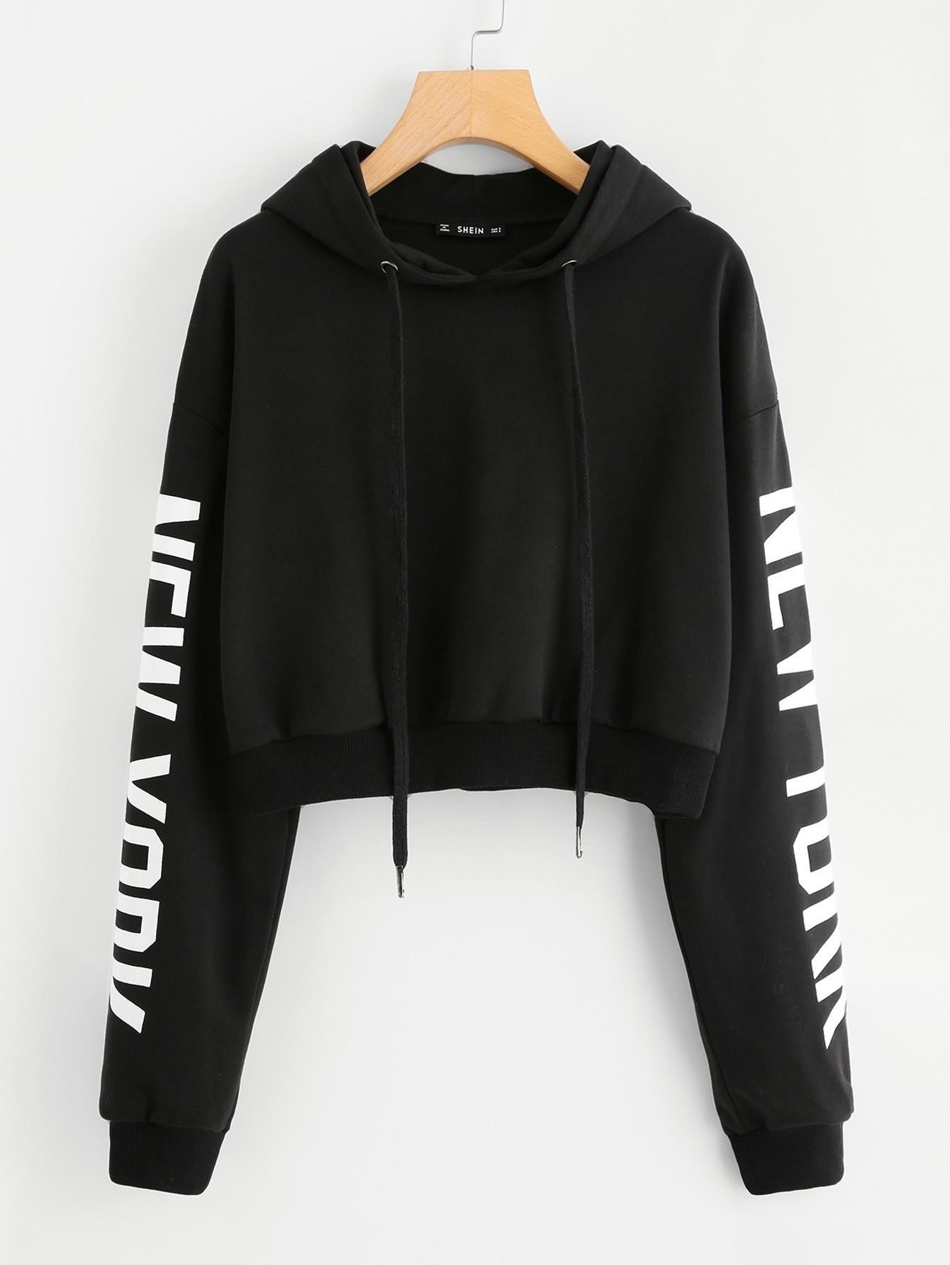 Drop Shoulder Print Sleeve Hoodie