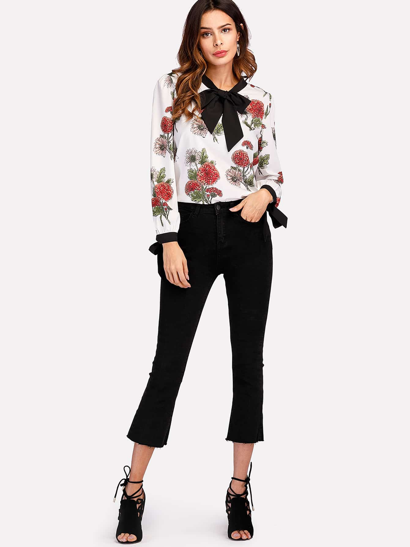 Contrast Trim Bow Tie Detail Florals Blouse bow tie cuff contrast patch pocket detail shirt
