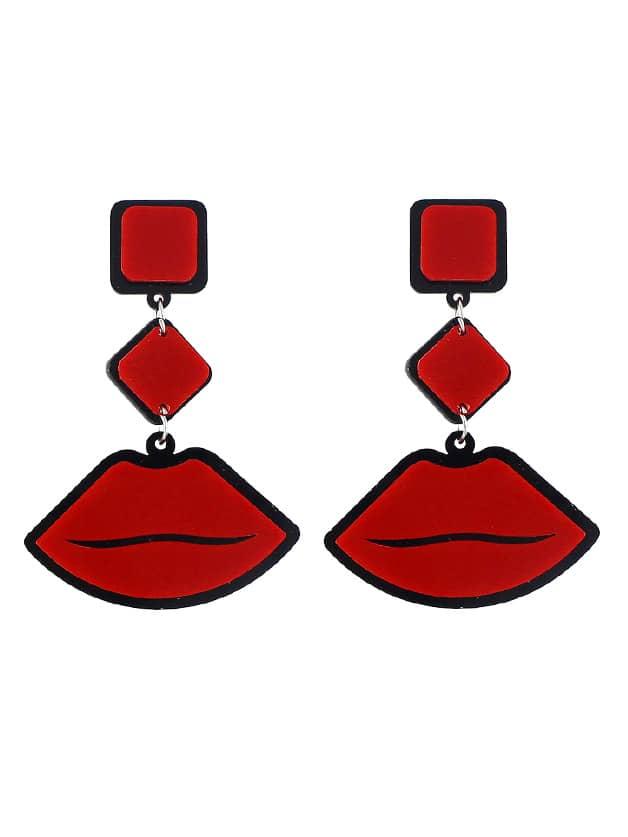 Lips Acrylic Geometric Shape Drop Earrings