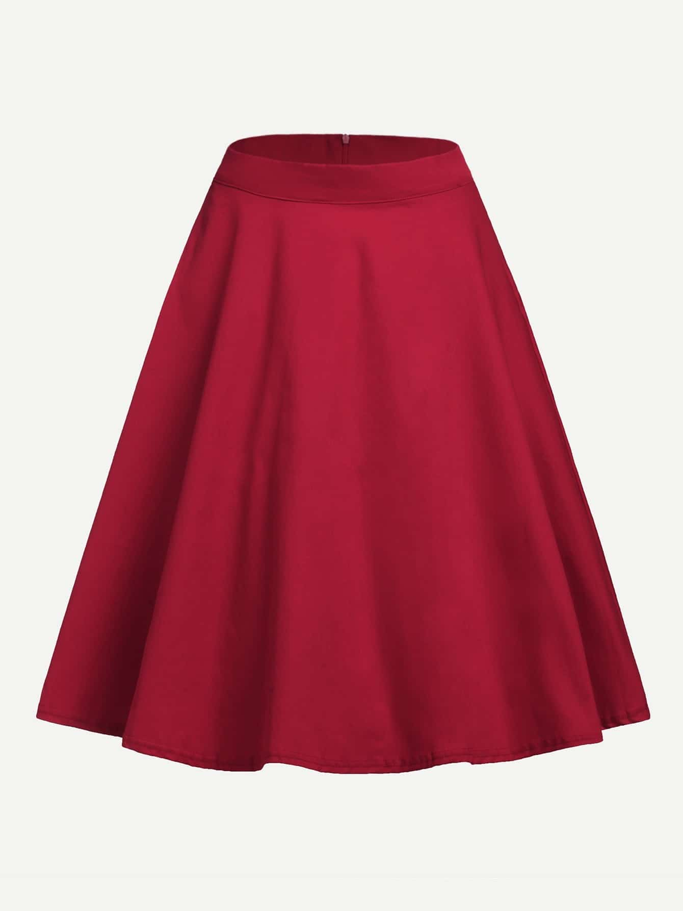Zip Back Solid Circle Skirt