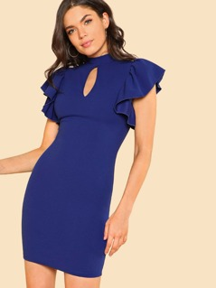 Exaggerated Ruffle Sleeve Cut Out Front Dress