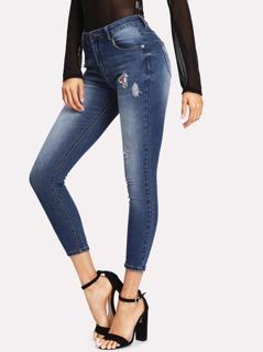 Bleach Wash Ripped Crop Jeans