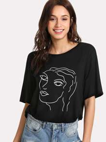 Abstract Portrait Print Tee